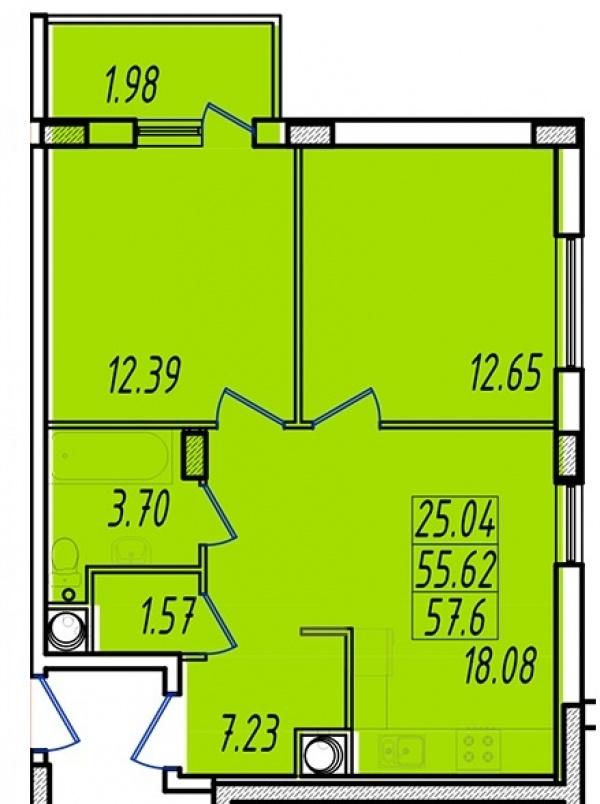 Планировки двухкомнатных квартир 57.47 м^2